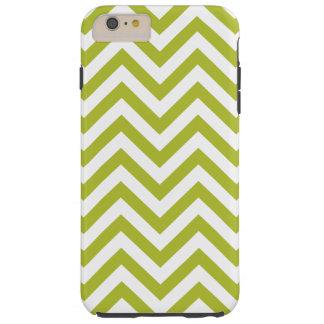 Green and White Zigzag Stripes Chevron Pattern Tough iPhone 6 Plus Case