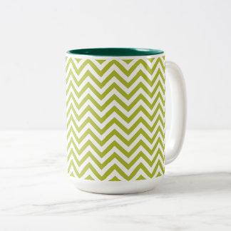 Green and White Zigzag Stripes Chevron Pattern Two-Tone Coffee Mug