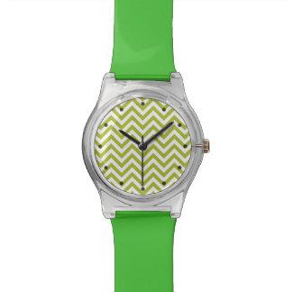Green and White Zigzag Stripes Chevron Pattern Watch