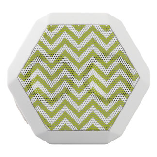 Green and White Zigzag Stripes Chevron Pattern White Bluetooth Speaker