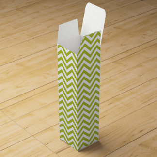 Green and White Zigzag Stripes Chevron Pattern Wine Box