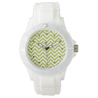 Green and White Zigzag Stripes Chevron Pattern Wrist Watch