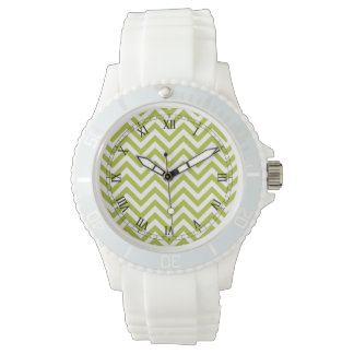 Green and White Zigzag Stripes Chevron Pattern Wrist Watches