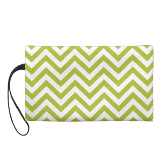 Green and White Zigzag Stripes Chevron Pattern Wristlet