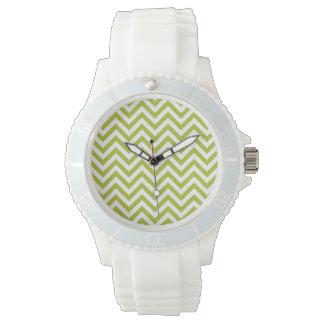 Green and White Zigzag Stripes Chevron Pattern Wristwatches