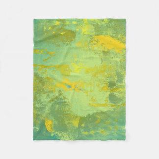 Green and Yellow Abstract Art Fleece Blanket