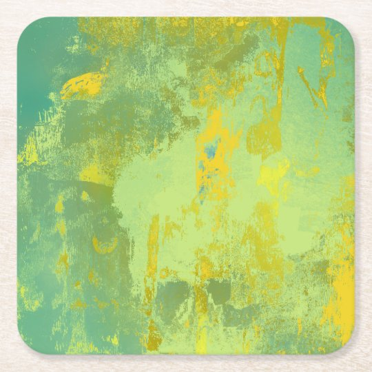 Green and Yellow Abstract Art Square Paper Coaster