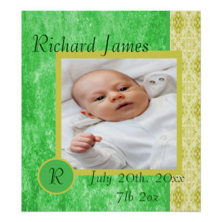 Green and Yellow Baby Boy Birth Announcement Print
