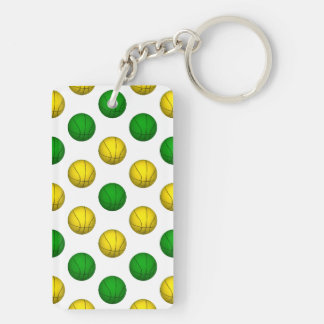 Green and Yellow Basketball Pattern Double-Sided Rectangular Acrylic Keychain