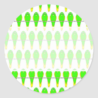 Green and Yellow Bird Pattern. Parakeets. Classic Round Sticker