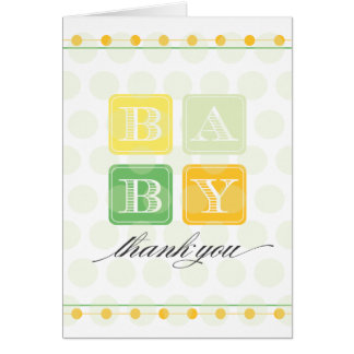 Green and Yellow Blocks Baby Thank You Card