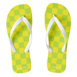 green and yellow checkered flip flops