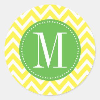 Green and Yellow Chevron Custom Monogram Round Sticker