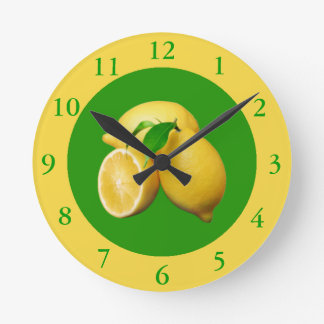 Green and Yellow Citrus and Fresh Lemons Round Clock