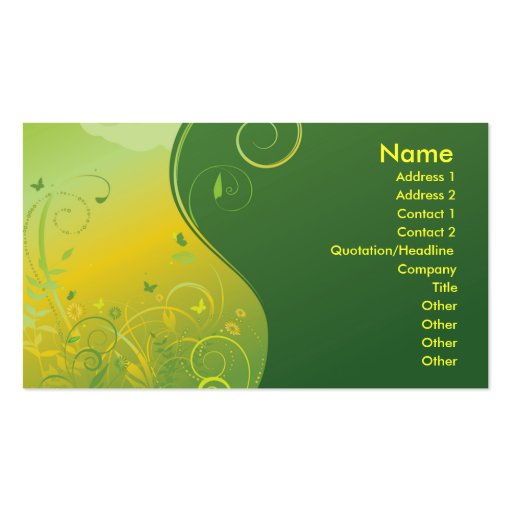 GREEN AND YELLOW FANTASY FLORAL PACK OF STANDARD BUSINESS CARDS