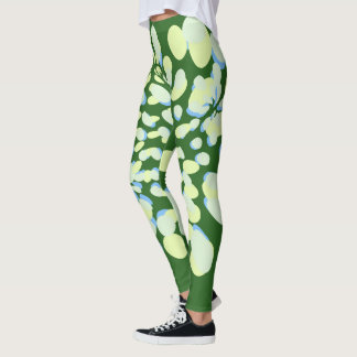 Green and yellow floral abstract leggings