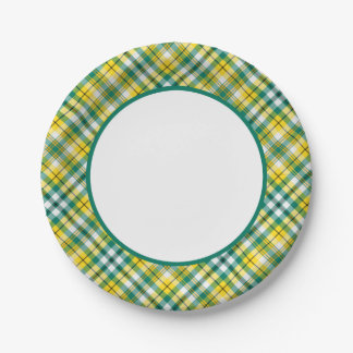 Green and Yellow Gold Sporty Plaid Paper Plate