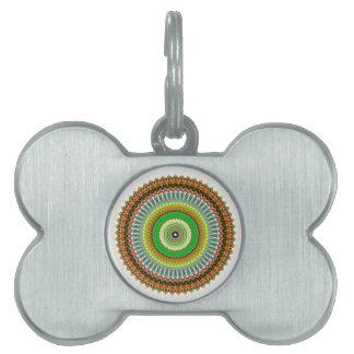 Green and Yellow Kaleidoscope Mandala Pet Tags