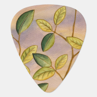 Green and Yellow Leaves on Sunset Background Guitar Pick