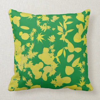 Green and Yellow Leaves Pillow
