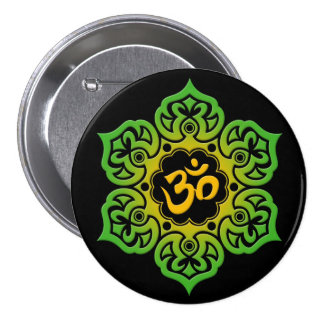 Green and Yellow Lotus Flower Om on Black Pin