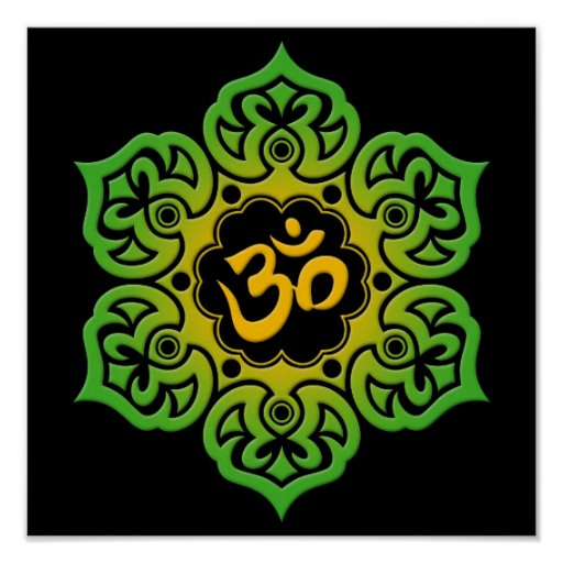 Green and Yellow Lotus Flower Om on Black Posters
