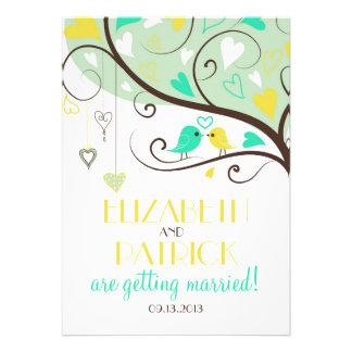 Green and Yellow Love Birds Wedding Invitation
