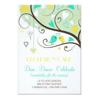 Green and Yellow Lovebirds Wedding Reception Card