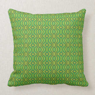 Green and Yellow Ogee Pattern Throw Pillow