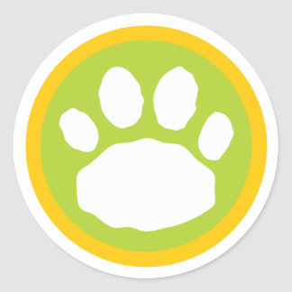 Green and Yellow Paw Print Classic Round Sticker