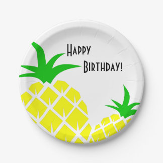 Green and Yellow Pineapples Happy Birthday 7 Inch Paper Plate