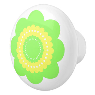 Green and Yellow Polka Dot Flower Ceramic Knob
