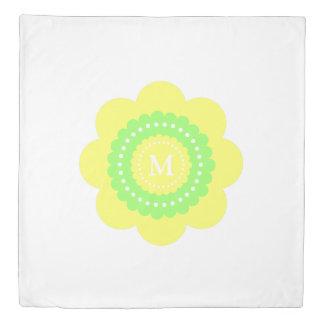 Green and Yellow Polka Dot Flower Monogram Duvet Cover