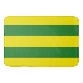 Green and Yellow Stripes Bathroom Mat