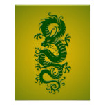 Green and Yellow Tribal Chinese Dragon Poster
