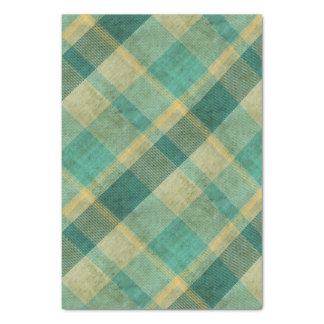 Green and Yellow Vintage Plaid Effect Tissue Paper