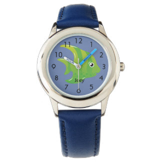 Green Angel Fish on Blue Personalized Child's Wristwatch