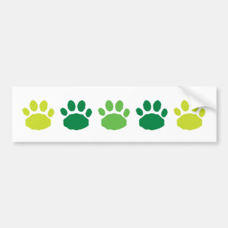 Green Animal Paw Prints Bumper Sticker