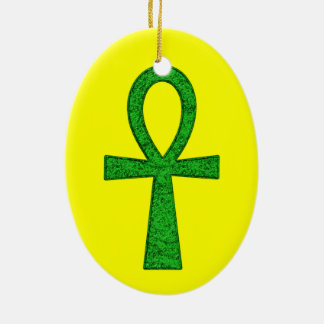 Green Ankh Ceramic Oval Ornament