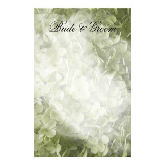 Green Annabelle Hydrangea Floral Wedding Personalized Stationery