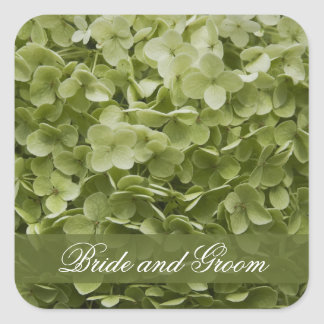 Green Annabelle Hydrangea Floral Wedding Square Sticker