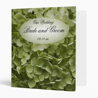 Green Annabelle Hydrangea Floral Wedding Vinyl Binder