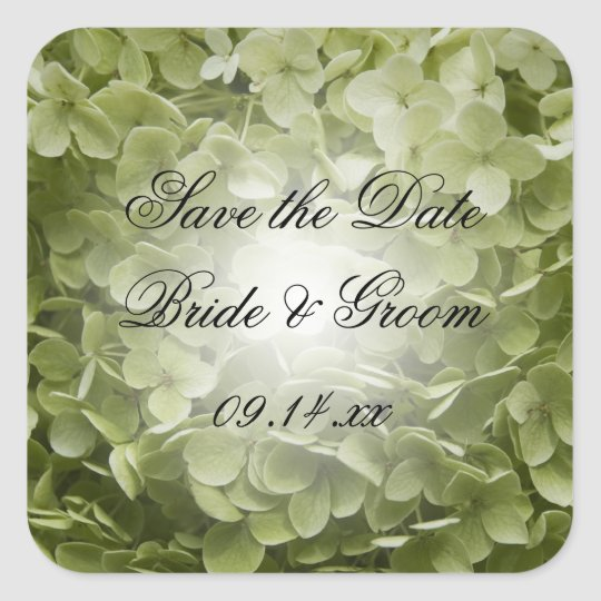 Green Annabelle Hydrangea Wedding Save the Date Square Sticker