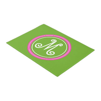 Green Apple and Diva Pink Monogram Doormat