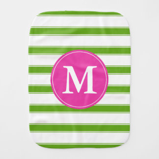 Green Apple and White Stripe Monogram Burp Cloth