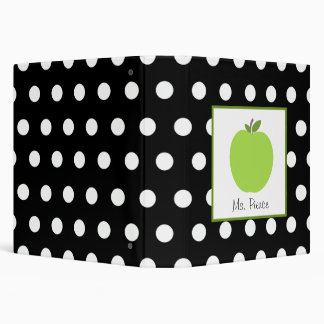 Green Apple / Black with White Polka Dots Vinyl Binder