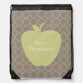 Green Apple Brown Quatrefoil Teacher Drawstring Bag