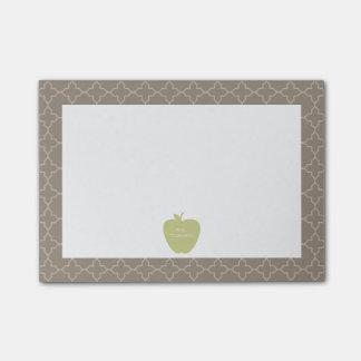 Green Apple Brown Quatrefoil Teacher Post-it Notes