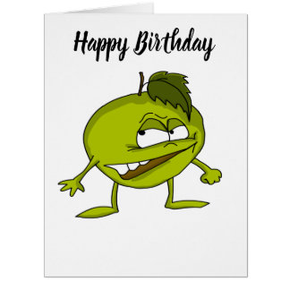 Green apple cartoon character with a vicious smile card