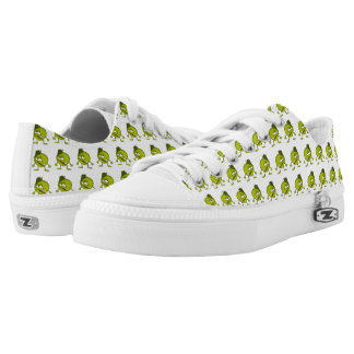 Green apple cartoon character with a vicious smile Low-Top sneakers